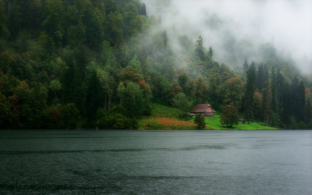 Horizontal photo of a hut on the shore of the Konigssee, Bavaria, Germany, by visionbypixels.com