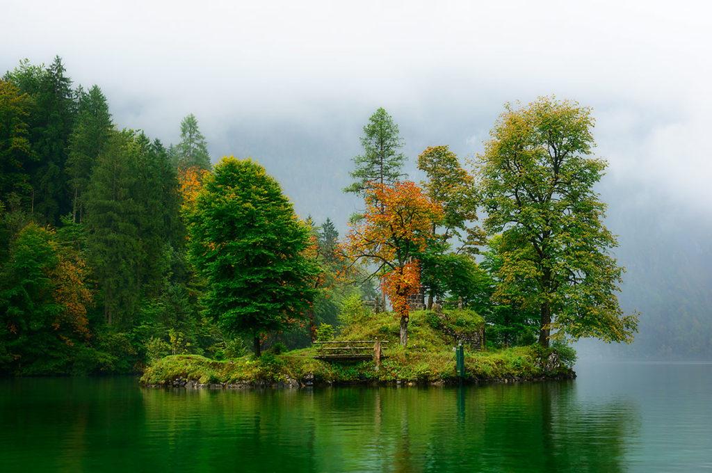 Closeup photo of the Island of Christlieger, Konigssee, Bavaria, Germany