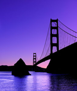 Photo of the Golden Gate Bridge at sunset from Horseshoe Bay, Marin County, by visionbypixels.com