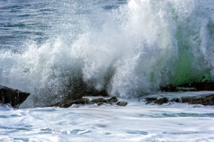 Photo of a wave crashing on the shore of Bean Hollow State Park, Pacifica, California, by visionbypixels.com